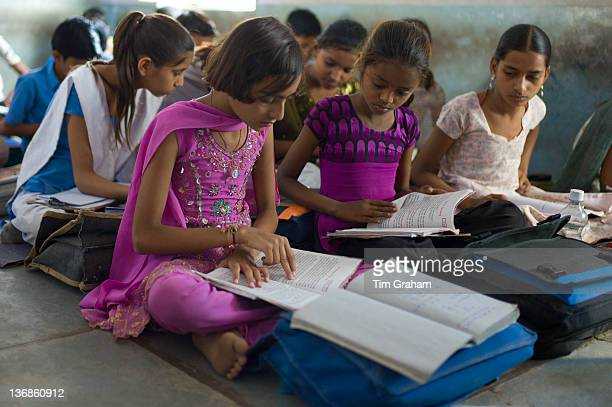 Indian children learning English at Rajyakaiya School in Narlai village Rajasthan Northern India