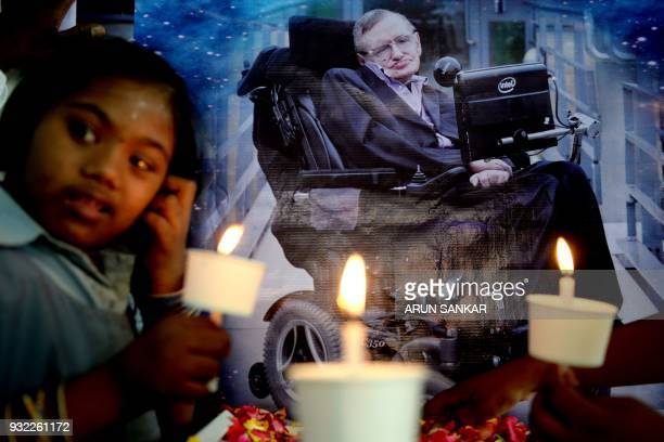 TOPSHOT Indian children with physical disabilities take part in an event to remember the late British physicist at a school in Chennai on March 15...