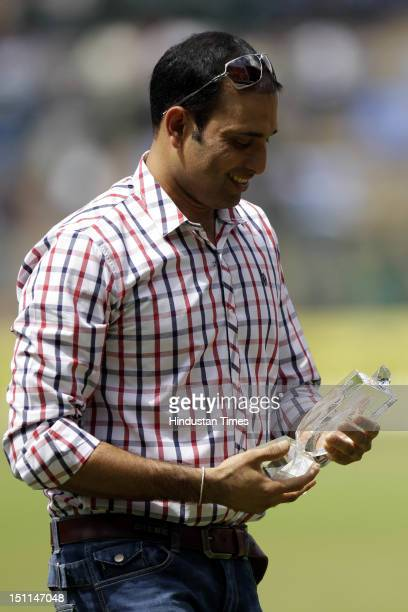 Indian cicketer VVS Laxman during his felicitation ceremony by KSCA during third day of second Test match between India and New Zealand at M...