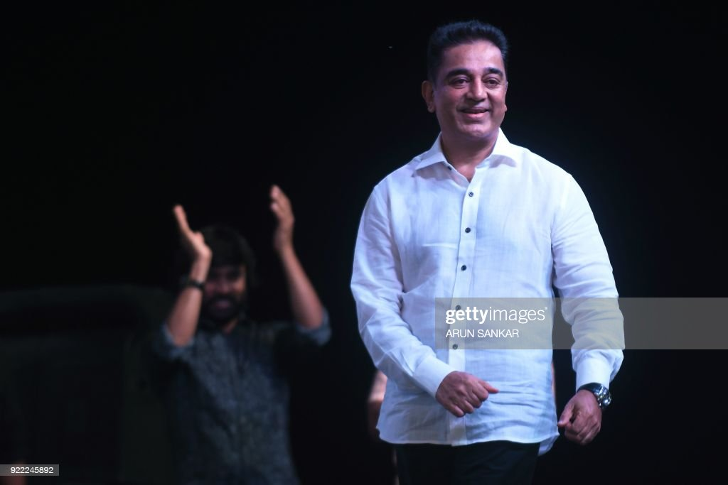 Indian cinema actor Kamal Hassan addresses the audience during the launch of his new political party 'Makkal Needhi Mayyam' in Madurai on February 21 ,2018. / AFP PHOTO / Arun SANKAR