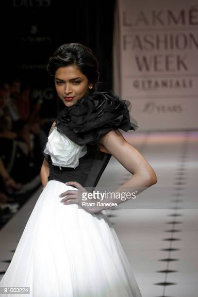 Indian cinema actress Deepika Padukone showcases a creation by Indian designers Gauri Nainika on the fourth day of Lakme Fashion Week Spring/Summer...
