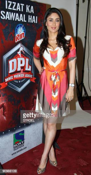 Indian cinema actress Kareena Kapoor poses at the launch of 'Dance Premiere League' television serial in Mumbai on September 19 2009 AFP PHOTO/STR