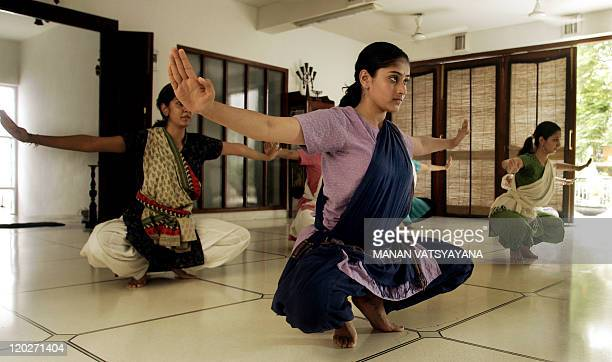 Indian classical dance Bharatnatyam students learn at a school NatyaVriksha in New Delhi 14 July 2006 Dancer Geeta Chandran has been teaching...