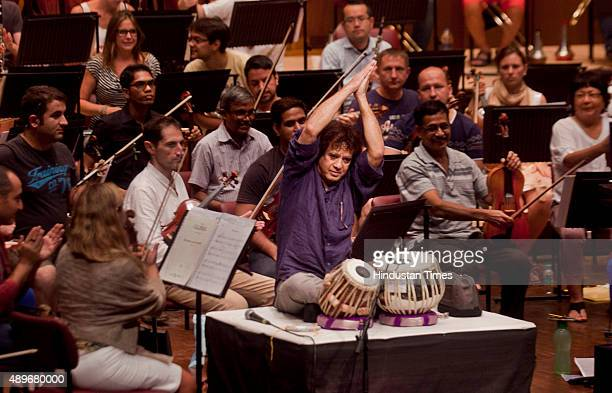 Indian Classical musician and Tabla maestro Zakir Hussain during the rehearsal at Jamshed Bhabha theatre NCPA Nariman Point on September 23 2015 in...