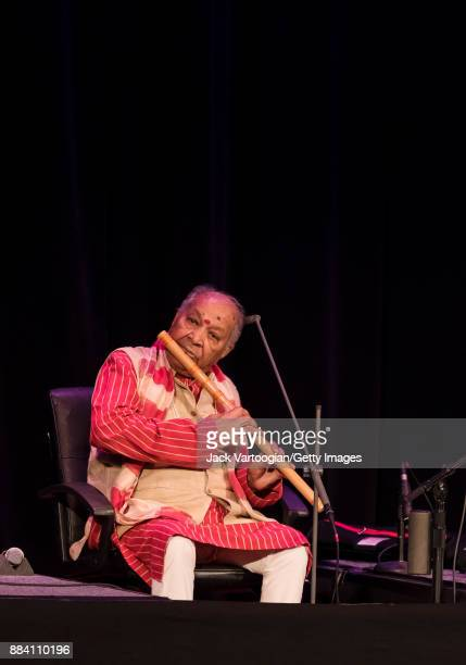 Indian Classical musician Hariprasad Chaurasia plays bansuri as he performs with his ensemble during World Music Institute concert at the 92nd Street...
