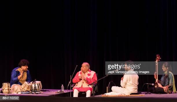 Indian classical musicians from left Subhankar Banerjee on tabla group leader Hariprasad Chaurasia Jay Gandhi both on bansuri and Mashal Awais on...