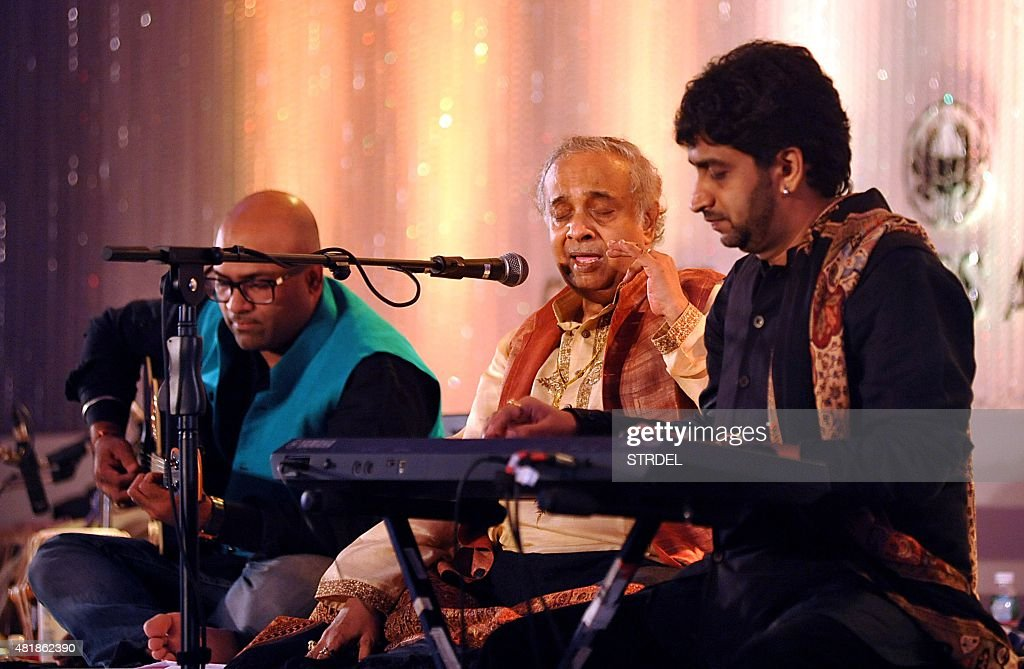 Indian classical vocalist Pandit Ajay Pohankar performs with his son