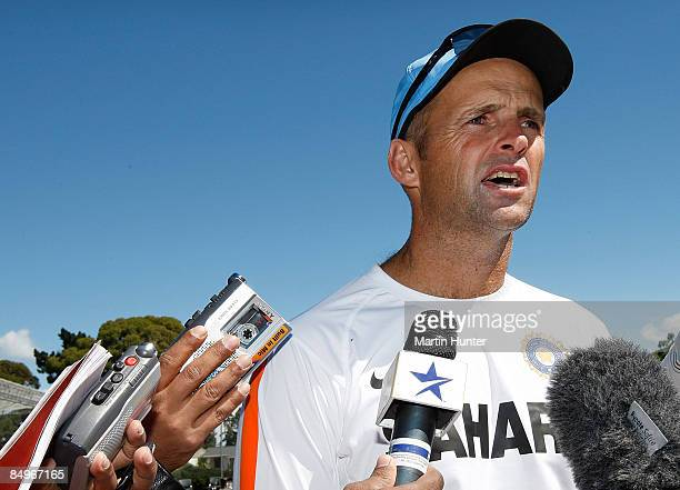 Indian coach Gary Kirsten talks to the media during an Indian nets session at the NZC High Performance Centre on February 22, 2009 in Lincoln, New...