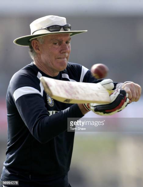 Indian coach Greg Chappell during the warm up during day four of the First Test between India and England at the VCA Stadium on March 4, 2006 in...