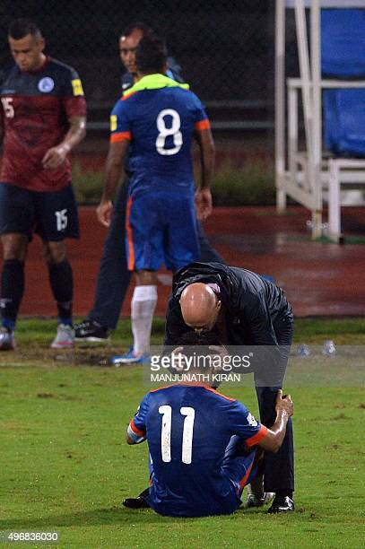 Indian coach Stephen Constantine kisses player Sunil Chhetri after India won 10 during the the Asia Group D FIFA World Cup 2018 qualifying football...