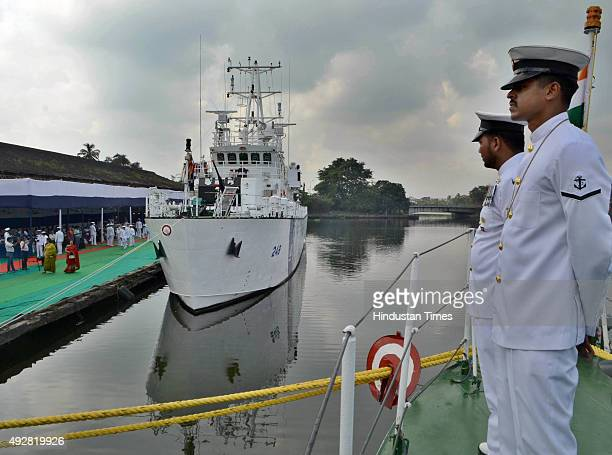 Indian Coast Guard Ship Anmol after commissioning by West Bengal Governor Keshari Nath Tripathi at Andaman Jetty Khidirpur Dock on October 15 2015 in...