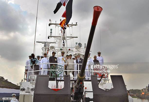 Indian Coast Guard Ship Anmol commissioned by West Bengal Governor Keshari Nath Tripathi at Andaman Jetty Khidirpur Dock on October 15 2015 in...