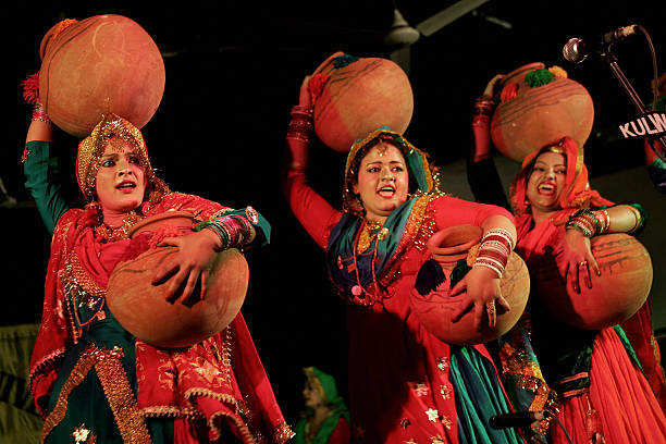 Indian college girls perform the traditional Punjabi dance the `Giddha` during the InterZonal Youth festival competition of the Punjabi cultural...