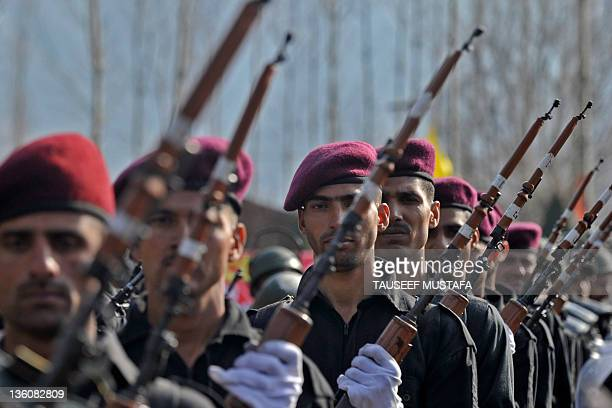 Indian commandos from the Jammu and Kashmir Armed Police march in their passing out parade at the Sheeri training centre, some 65 km northwest of...