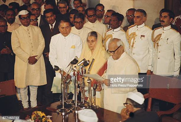 Indian Congress Party politician Indira Gandhi is sworn in as Prime Minister of India after a landslide victory in the 1971 Indian parliamentary...