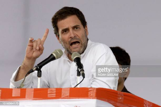 Indian Congress party president Rahul Gandhi addresses a public meeting at Saroornagar Stadium in Hyderabad on August 14 2018 Gandhi is on a twoday...