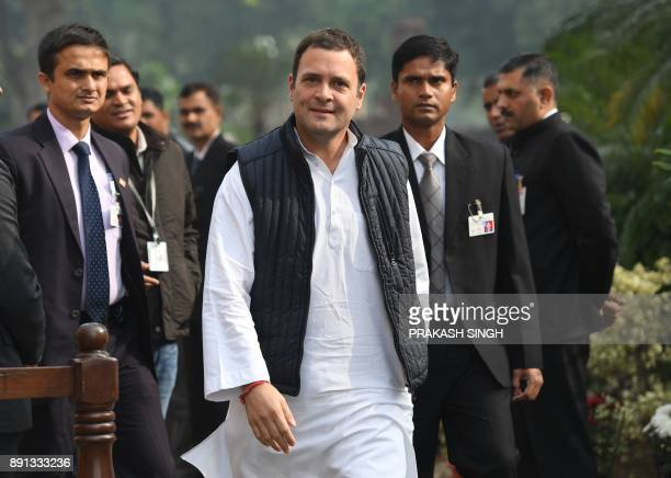 Indian Congress Party Presidentelect Rahul Gandhi arrives to pay homage during a remembrance ceremony for the 2001 attack on Parliament at Parliament...