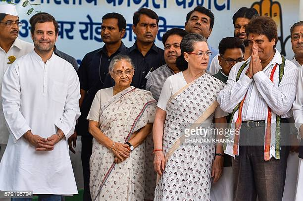 Indian Congress Party Vice President Rahul Gandhi 78yearold chief ministerial candidate Sheila Dikshit Indian Congress Party President Sonia Gandhi...