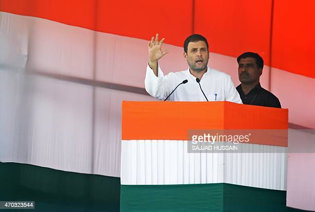 Indian Congress Party vicepresident Rahul Gandhi speaks during a rally in New Delhi on April 19 2015 Beleaguered opposition leader Rahul Gandhi led a...