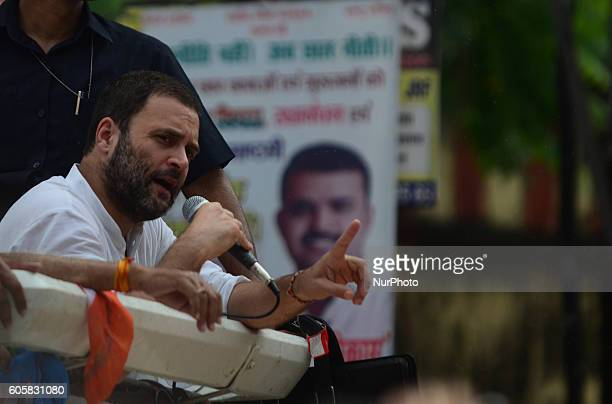 Indian Congress party's vice president and leader Rahul Gandhi speaks during a roadshow named as 'Kisan Yatra' in Allahabad on September 15 2016...