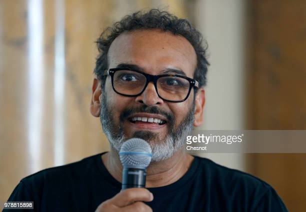 Indian contemporary artist Subodh Gupta gives a press conference at the Monnaie de Paris on June 19 2018 in Paris France The Monnaie de Paris...