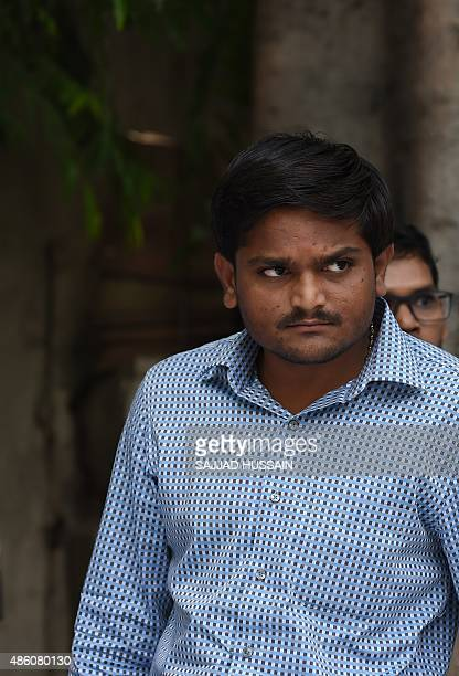 Indian convenor of the 'Patidar Anamat Andolan Samiti' Hardik Patel who led recent protests in the state of Gujarat demanding preferential treatment...
