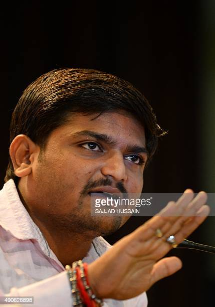 Indian convenor of the 'Patidar Anamat Andolan Samiti' movement Hardik Patel addresses a press conference in New Delhi on September 30 2015 Patel led...