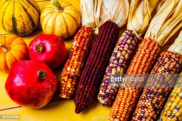 Indian Corn And Pomegranates