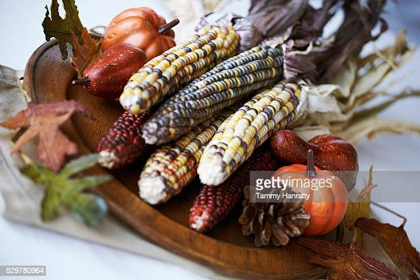 indian corn centerpiece - indian corn stock photos and pictures