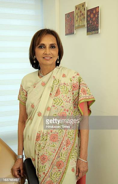 Indian Cosmetic Dermatologist Rekha Sheth poses during the celebration of her Maria Duran Lectureship award at Juhu on March 13 2013 in Mumbai India...