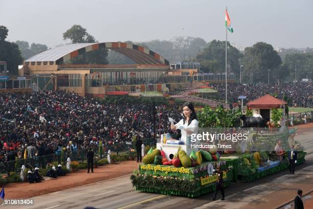 Indian Council of Agricultural Research tableaux passes through the saluting base during the 69th Republic Day Parade, at Rajpath, on January 26,...
