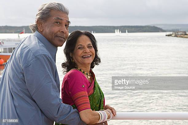 Indian couple at a harbour