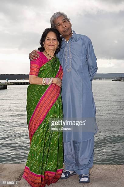 Indian couple on a harbour