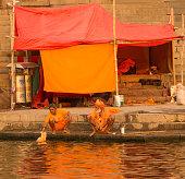 traditional mature hindu man woman living