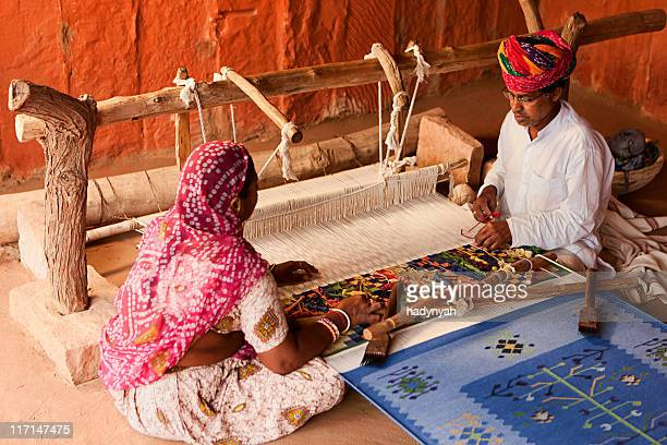 indian couple weaving textiles (durry). salawas village. rajasthan. - sari stock pictures, royalty-free photos & images