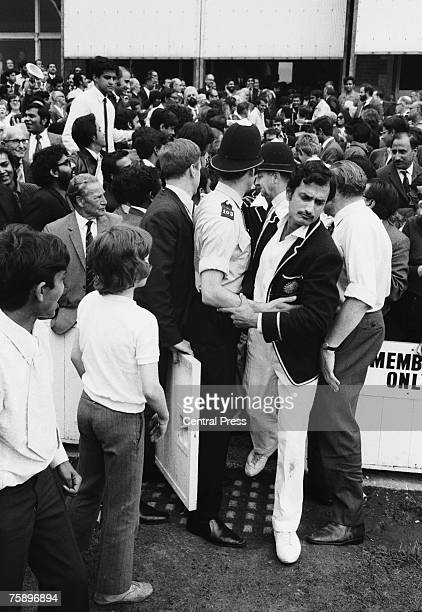 Indian cricket captain Ajit Wadekar makes his way on to the pitch for the presentations after India won the Third Test against England by four...