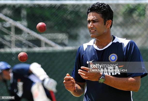 Indian cricket captain Anil Kumble prepares to bowl during a practice session at the Sinhalese Sports Club Ground in Colombo on July 22 2008 The...