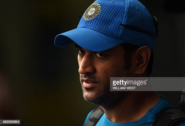 Indian cricket captain Mahendra Singh Dhoni bats in the nets during their final training session for the 2015 Cricket World Cup in Adelaide on...