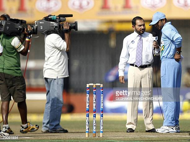 Indian cricket captain Rahul Dravid gives a television interview to former Indian player Arun Lal just after the toss in the second onedayer against...