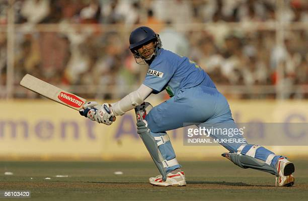 Indian cricket captain Rahul Dravid watches a ball go to the boundary during the fifth one day international match between India and Sri Lanka at the...