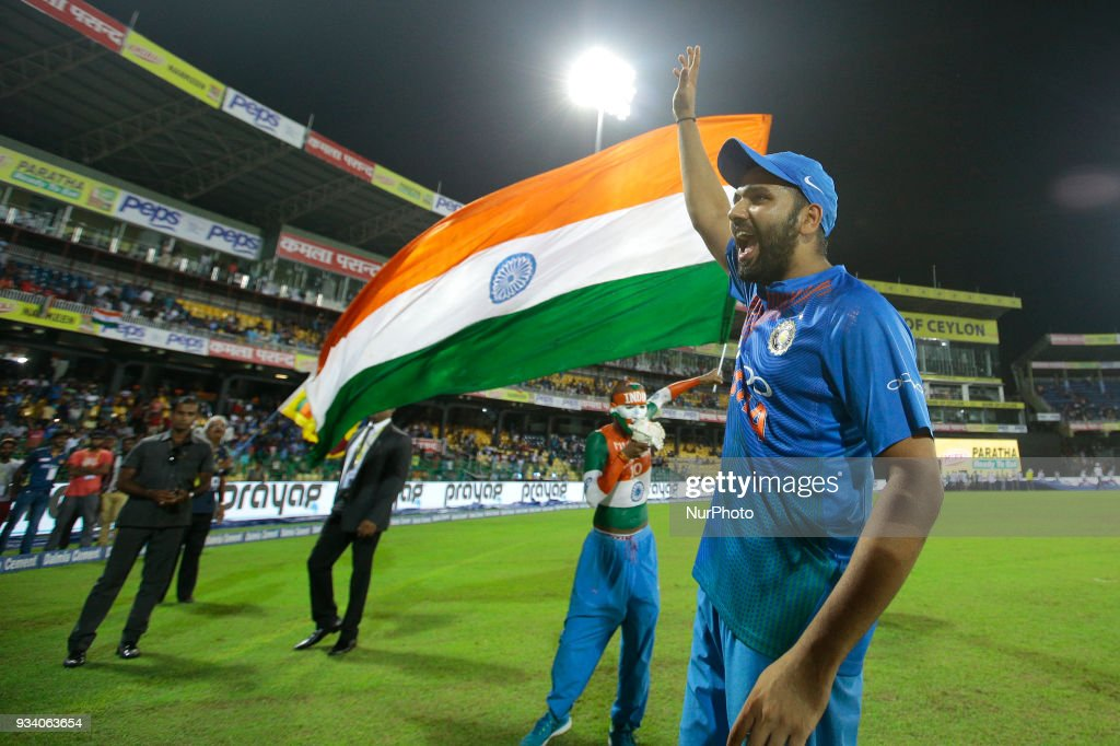 Indian cricket captain Rohit Sharma acknowledges the Sri Lankan fans who supported the Indian cricket team during the final Twenty-20 cricket match of NIDAHAS Trophy between Bangladesh and India at R Premadasa cricket ground, Colombo, Sri Lanka on Sunday 18 March 2018.