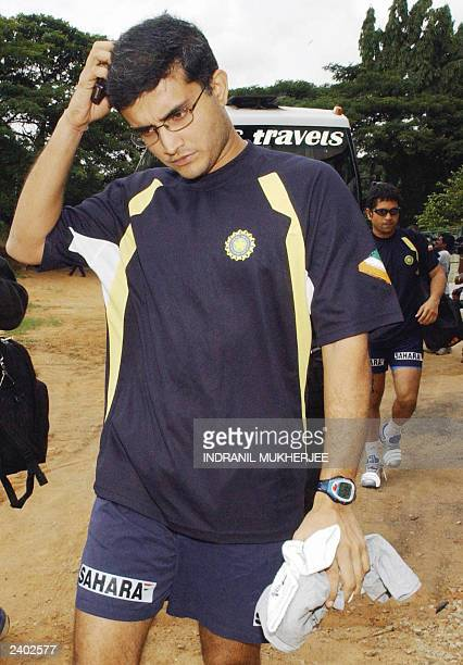 Indian cricket captain Saurav Ganguly and fellow team member Sachin Tendulkar arrive for the afternoon training session at the National Cricket...