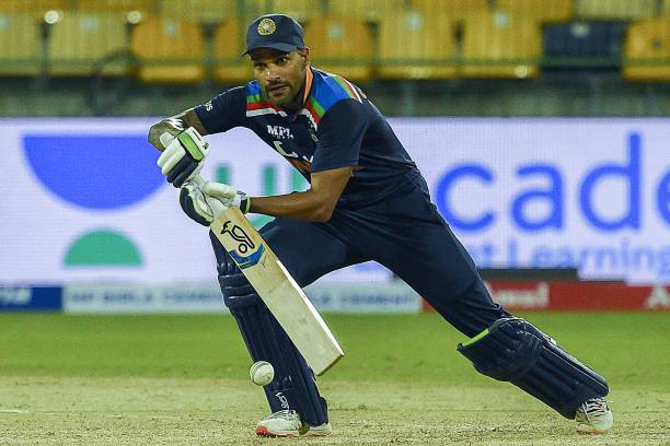 Indian cricket captain Shikhar Dhawan plays a shot during the first One Day International cricket match between Sri Lanka and India at the...