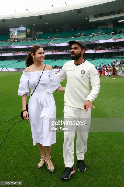 Indian Cricket Captain Virat Kohli and his wife Anushka Sharma after winning the series and the Border–Gavaskar Trophy during day five of the Fourth...