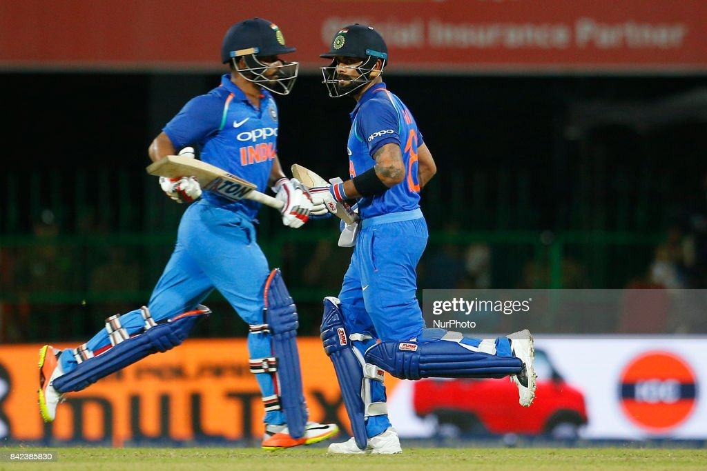 Indian cricket captain Virat Kohli and Kedar Jadhav congratulate each other during the 5th and final One Day International cricket match between Sri Lanka and India at the R Premadasa international cricket stadium at Colombo, Sri Lanka on Sunday 3 September 2017.