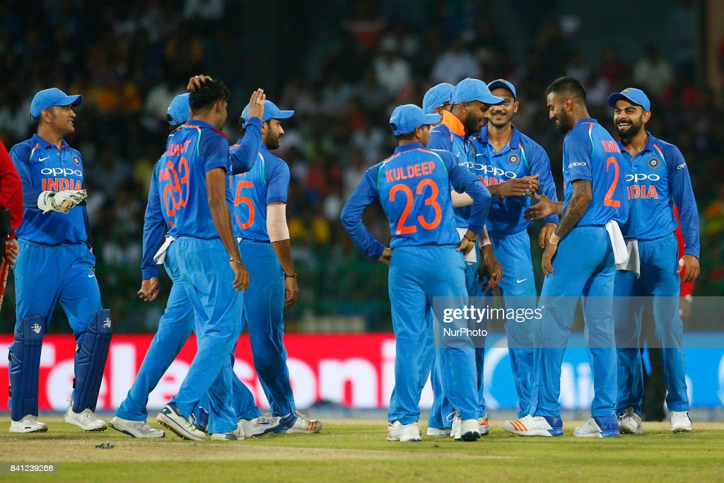 Indian cricket captain Virat Kohli and team members celebrate after the dismissal of Sri Lanka's Kusal Mendis(unseen) the 4th One Day International cricket match between Sri Lanka and India at the R Premadasa international cricket stadium at Colombo, Sri Lanka on Thursday 31 August 2017.