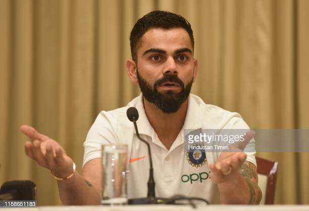 Indian cricket captain Virat Kohli during a press conference before West Indies tour, at ITC hotel in Andheri, on July 29, 2019 in Mumbai, India....