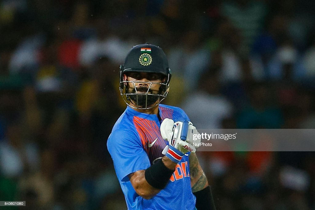 Indian cricket captain Virat Kohli gestures after playing a shot for a boundary during the 1st and only T-20 cricket match between Sri Lanka and India at R Premadasa International cricket stadium in Colombo, Sri Lanka on Wednesday 6 September 2017.