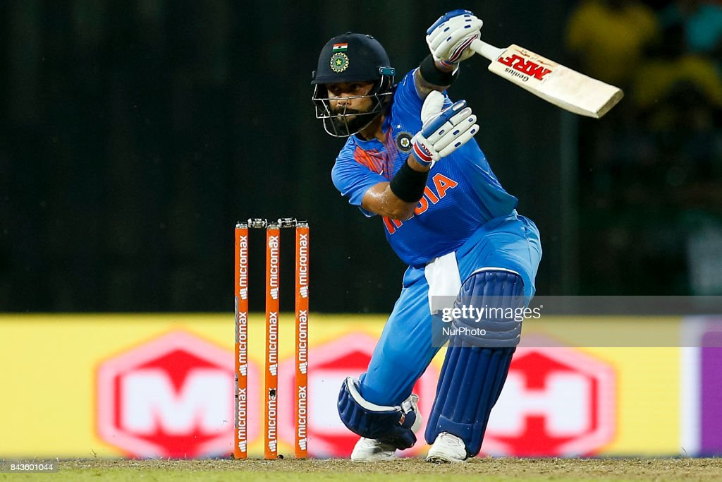 Indian cricket captain Virat Kohli plays a shot during the 1st and only T-20 cricket match between Sri Lanka and India at R Premadasa International cricket stadium in Colombo, Sri Lanka on Wednesday 6 September 2017.
