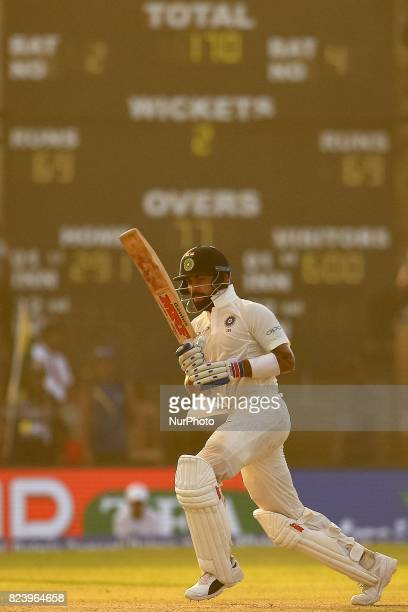 Indian cricket captain Virat kohli plays a shot during the 3rd Day's play in the 1st Test match between Sri Lanka and India at the Galle cricket...